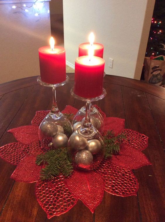 Christmas Wine Glass Centerpiece