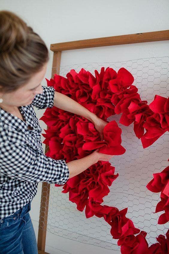 Heart Shaped Paper Flower Backdrop