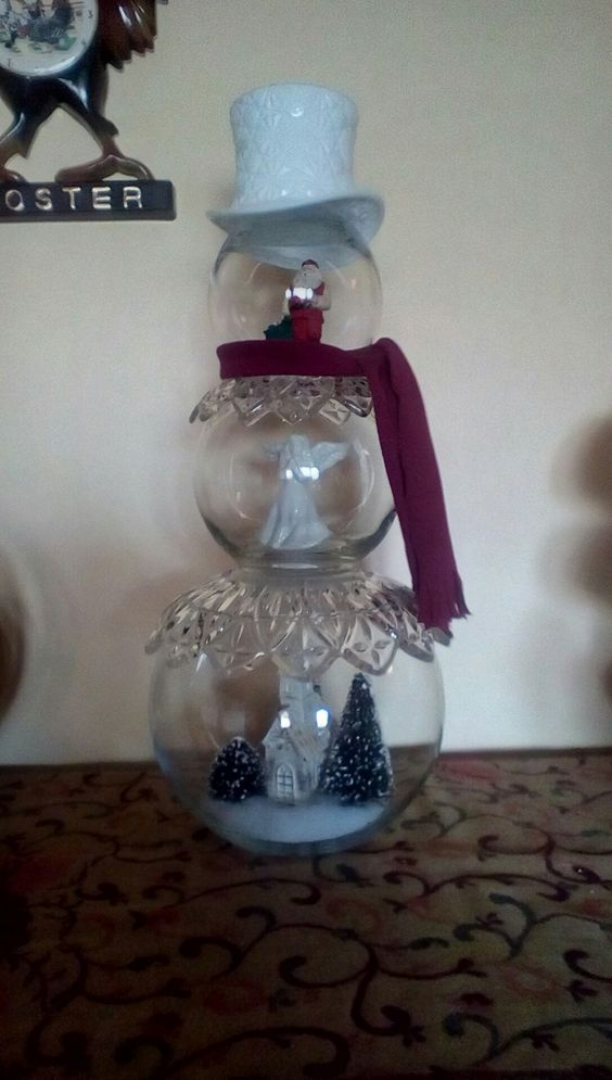 Fishbowl Snowman with White Hat