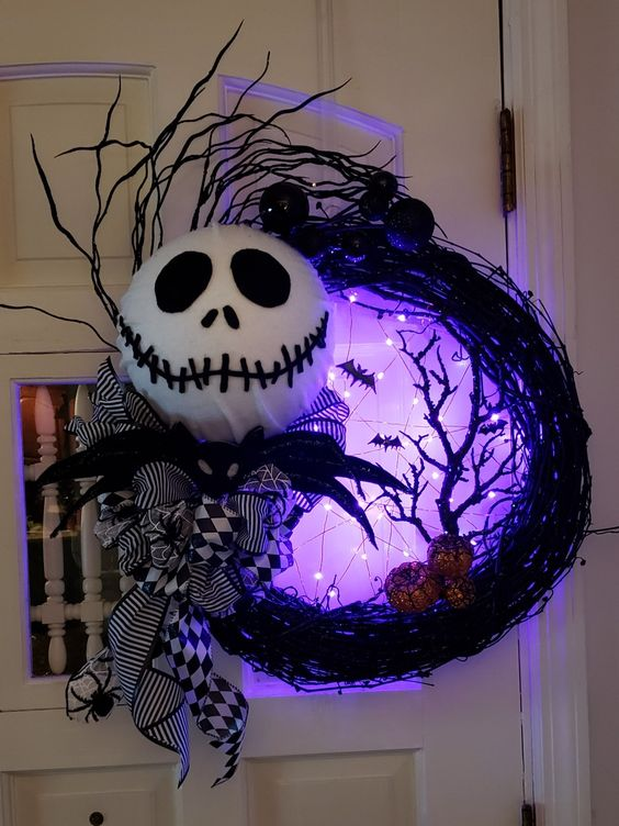 Lighted Halloween Wreath